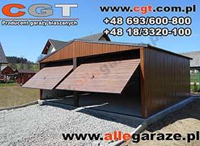 Garaż blaszany 6x5 dwuspadowy brama uchylna