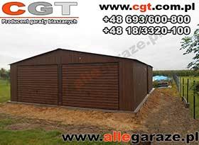 Garaż blaszany 7x5 dwuspadowy brama uchylna