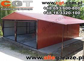 Garaż blaszany 6x5 RAL 3005 dwuspadowy brama uchylna