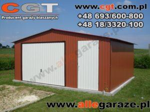 Garaż blaszany 5x5 RAL 8004 brązowy dwuspadowy brama uchylna