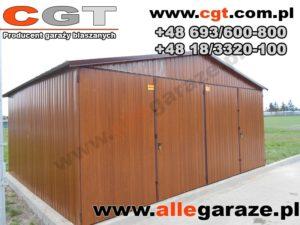 Garaż blaszany 6x5 RAL złoty dąb dwuspadowy brama uchylna