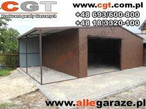 Garaż blaszany 6x5 RAL 8017 z zadaszeniem dwuspadowy brama uchylna